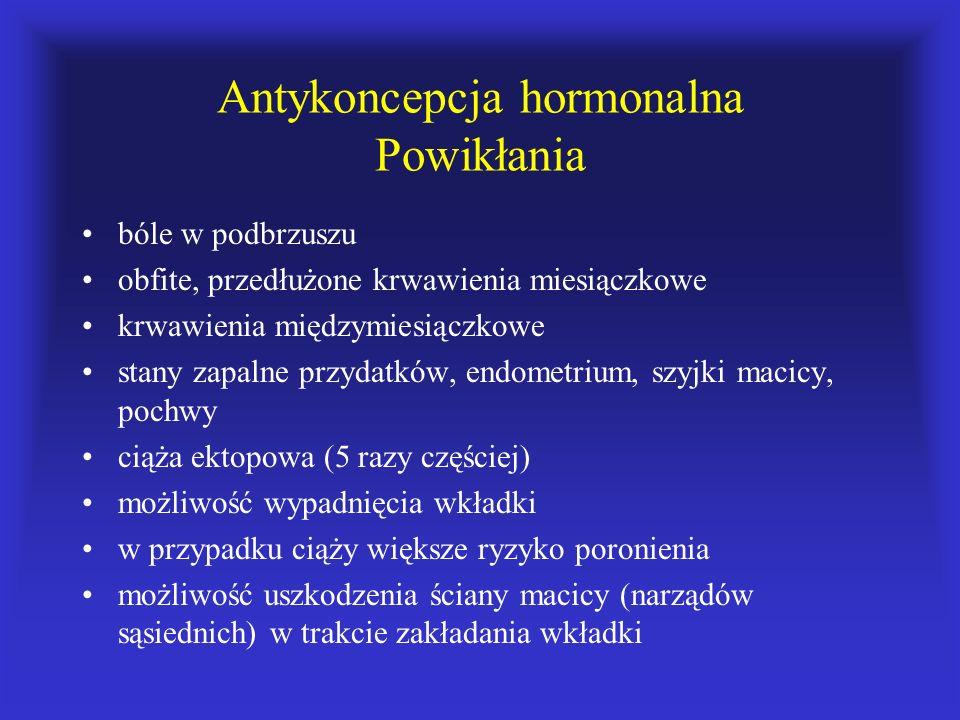 Antykoncepcja hormonalna Powikłania bóle w podbrzuszu obfite, przedłużone krwawienia miesiączkowe krwawienia międzymiesiączkowe stany zapalne przydatk