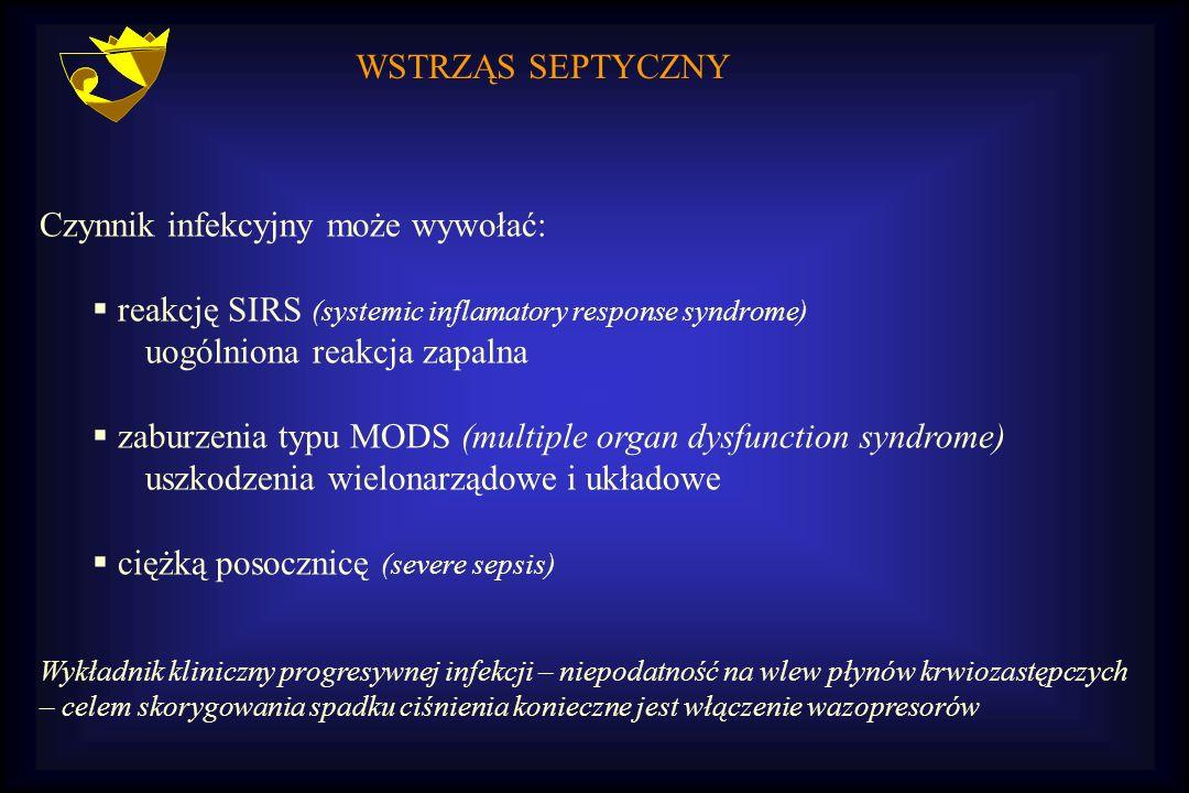 WSTRZĄS SEPTYCZNY Czynnik infekcyjny może wywołać:  reakcję SIRS (systemic inflamatory response syndrome) uogólniona reakcja zapalna  zaburzenia typ