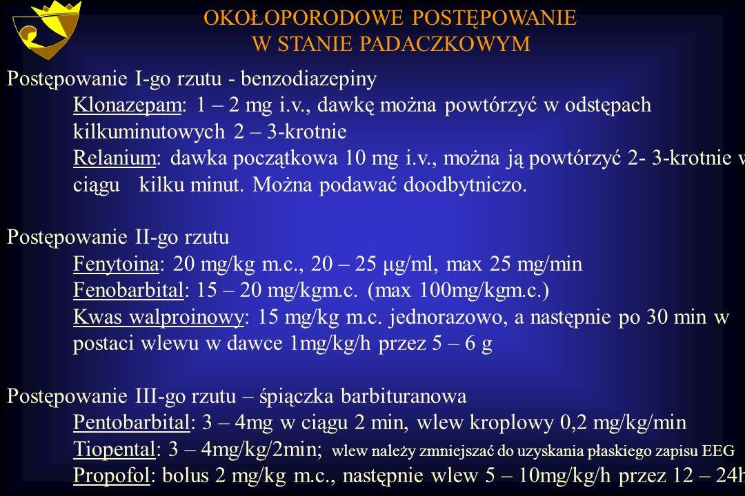 OKOŁOPORODOWE POSTĘPOWANIE W STANIE PADACZKOWYM Postępowanie I-go rzutu - benzodiazepiny Klonazepam: 1 – 2 mg i.v., dawkę można powtórzyć w odstępach