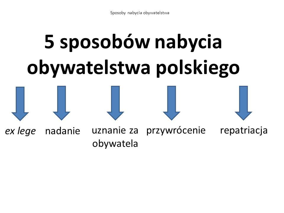 5 sposobów nabycia obywatelstwa polskiego Sposoby nabycia obywatelstwa ex legenadanie uznanie za obywatela przywrócenierepatriacja