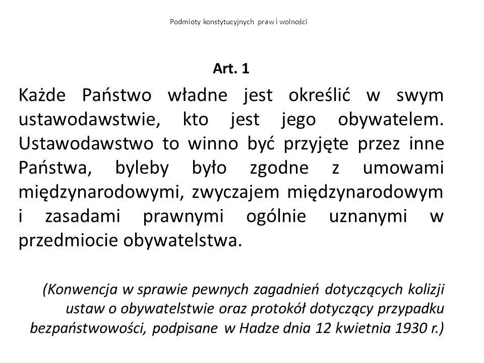 Art. 1 Każde Państwo władne jest określić w swym ustawodawstwie, kto jest jego obywatelem. Ustawodawstwo to winno być przyjęte przez inne Państwa, byl
