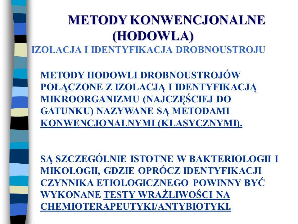 METODY HODOWLI DROBNOUSTROJÓW POŁĄCZONE Z IZOLACJĄ I IDENTYFIKACJĄ MIKROORGANIZMU (NAJCZĘŚCIEJ DO GATUNKU) NAZYWANE SĄ METODAMI KONWENCJONALNYMI (KLAS
