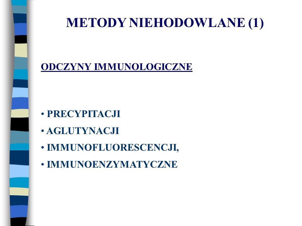 METODY NIEHODOWLANE (1) ODCZYNY IMMUNOLOGICZNE PRECYPITACJI AGLUTYNACJI IMMUNOFLUORESCENCJI, IMMUNOENZYMATYCZNE