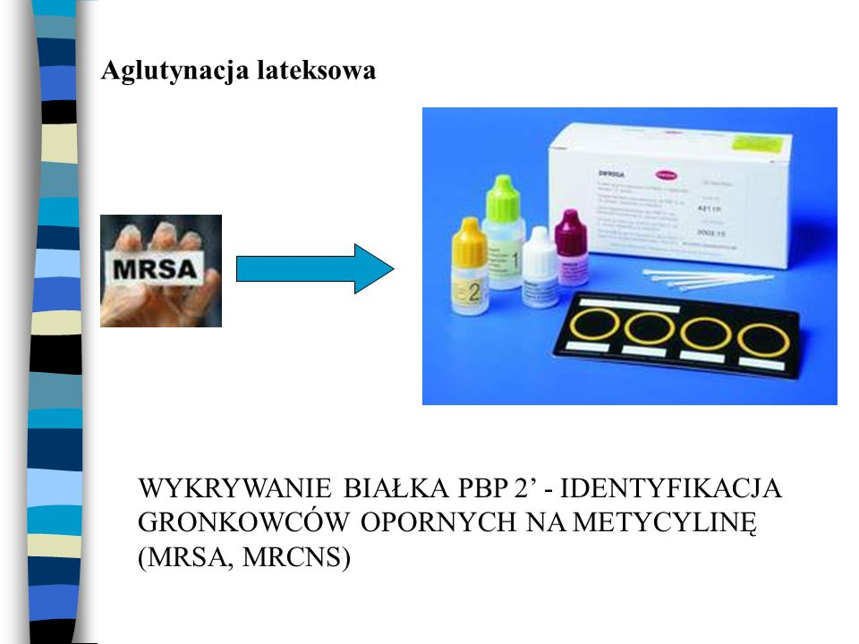 Aglutynacja lateksowa WYKRYWANIE BIAŁKA PBP 2' - IDENTYFIKACJA GRONKOWCÓW OPORNYCH NA METYCYLINĘ (MRSA, MRCNS)