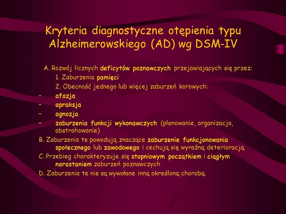 Kryteria diagnostyczne otępienia typu Alzheimerowskiego (AD) wg DSM-IV A. Rozwój licznych deficytów poznawczych przejawiających się przez: 1. Zaburzen