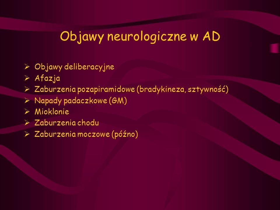 Objawy neurologiczne w AD  Objawy deliberacyjne  Afazja  Zaburzenia pozapiramidowe (bradykineza, sztywność)  Napady padaczkowe (GM)  Mioklonie 