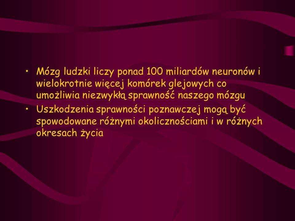 Otępienie z ciałami Lewy'ego DLB (Dementia with Lewy Bodies) Drugie po AD otępienie pod względem częstości występowania (15%-36%) Ciała Lewy'ego to wtręty cytoplazmatyczne złożone z alfa-synukleiny, białka złożonego z 140 aminokwasów,kodowanego przez gen SNCA na chromosomie 4 Ciała Lewy'ego zlokalizowane są w pniu mózgu, jądrach podkorowych,korze limbicznej i korze nowej (szczególnie w płacie skroniowym oraz równomiernie w czołowym i ciemieniowym)