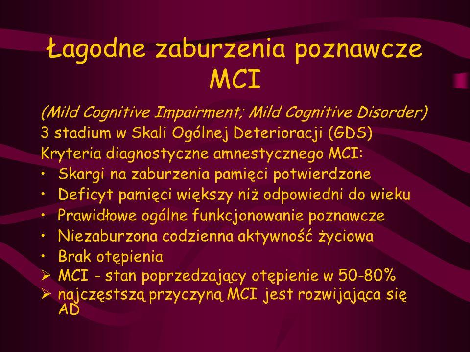 Otępienie w chorobie Parkinsona PD  spowolnienie procesów umysłowych  upośledzenie pamięci, zaburzenia uwagi  ograniczenie spontaniczności w myśleniu i działaniu  zaburzenia konstrukcyjne, wzrokowo-przestrzenne  zaburzenia nastroju, apatia  brak afazji, apraksji, agnozji  brak płynności mowy z zachowaną funkcją języka  + bogate objawy neurologiczne (wskutek uszkodzenia układu pozapiramidowego)