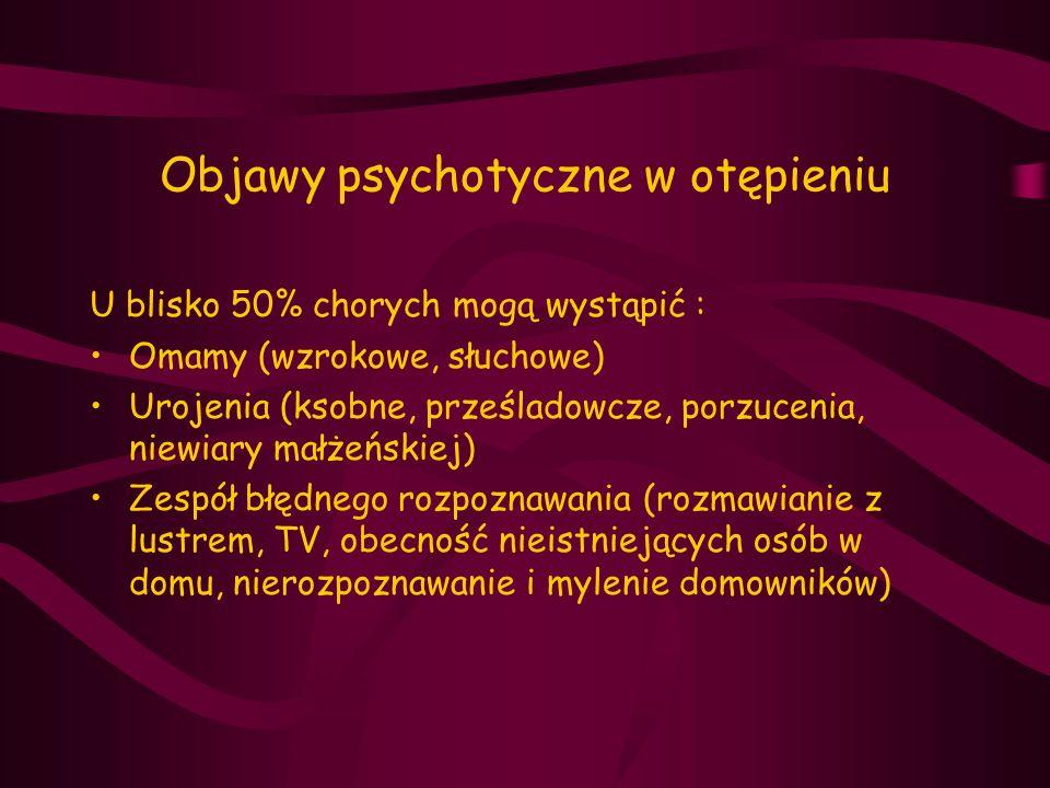 Objawy psychotyczne w otępieniu U blisko 50% chorych mogą wystąpić : Omamy (wzrokowe, słuchowe) Urojenia (ksobne, prześladowcze, porzucenia, niewiary