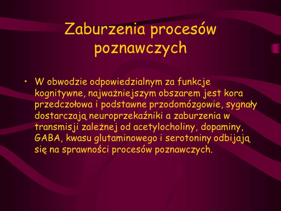 Zaburzenia procesów poznawczych W obwodzie odpowiedzialnym za funkcje kognitywne, najważniejszym obszarem jest kora przedczołowa i podstawne przodomóz
