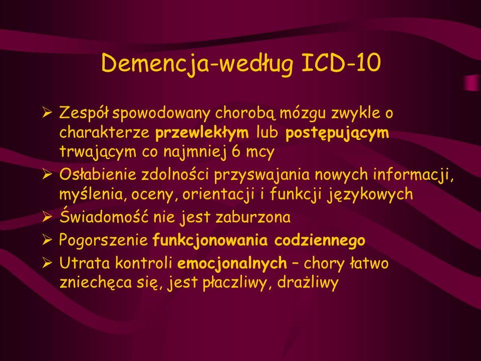 Demencja-według ICD-10  Zespół spowodowany chorobą mózgu zwykle o charakterze przewlekłym lub postępującym trwającym co najmniej 6 mcy  Osłabienie z