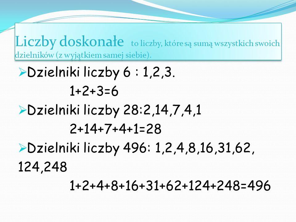 Liczby doskonałe to liczby, które są sumą wszystkich swoich dzielników (z wyjątkiem samej siebie).  Dzielniki liczby 6 : 1,2,3. 1+2+3=6  Dzielniki l