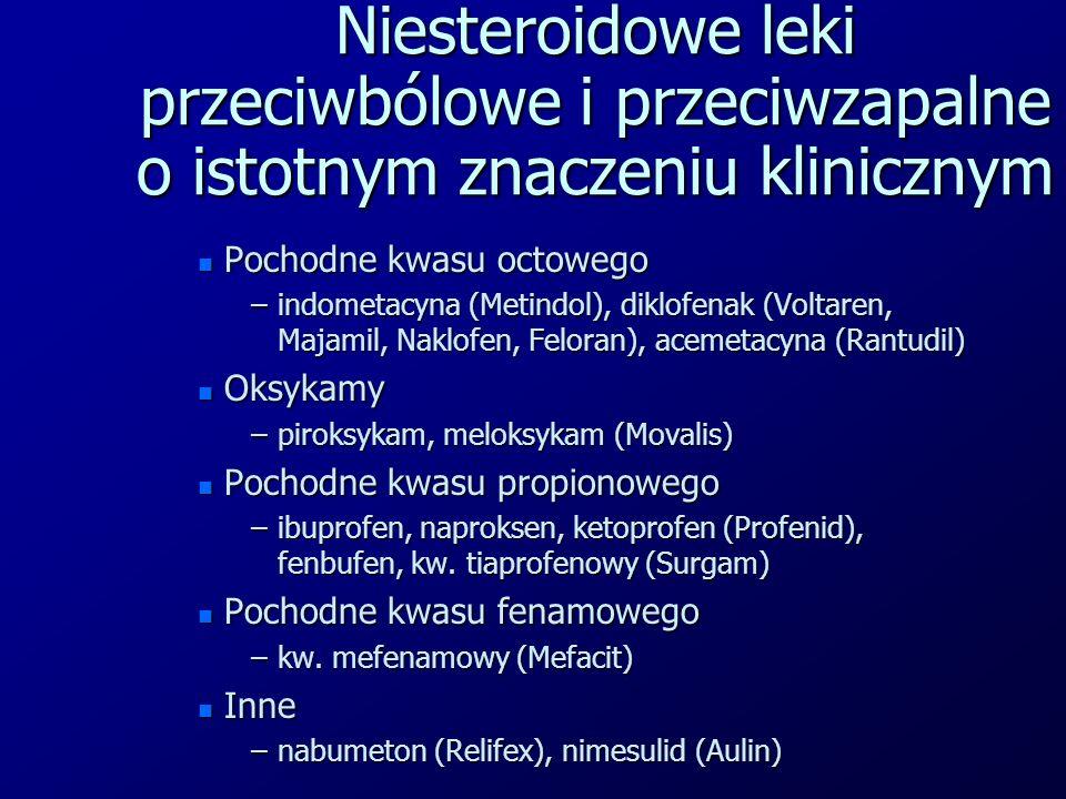 Niesteroidowe leki przeciwbólowe i przeciwzapalne o istotnym znaczeniu klinicznym n Pochodne kwasu octowego –indometacyna (Metindol), diklofenak (Volt
