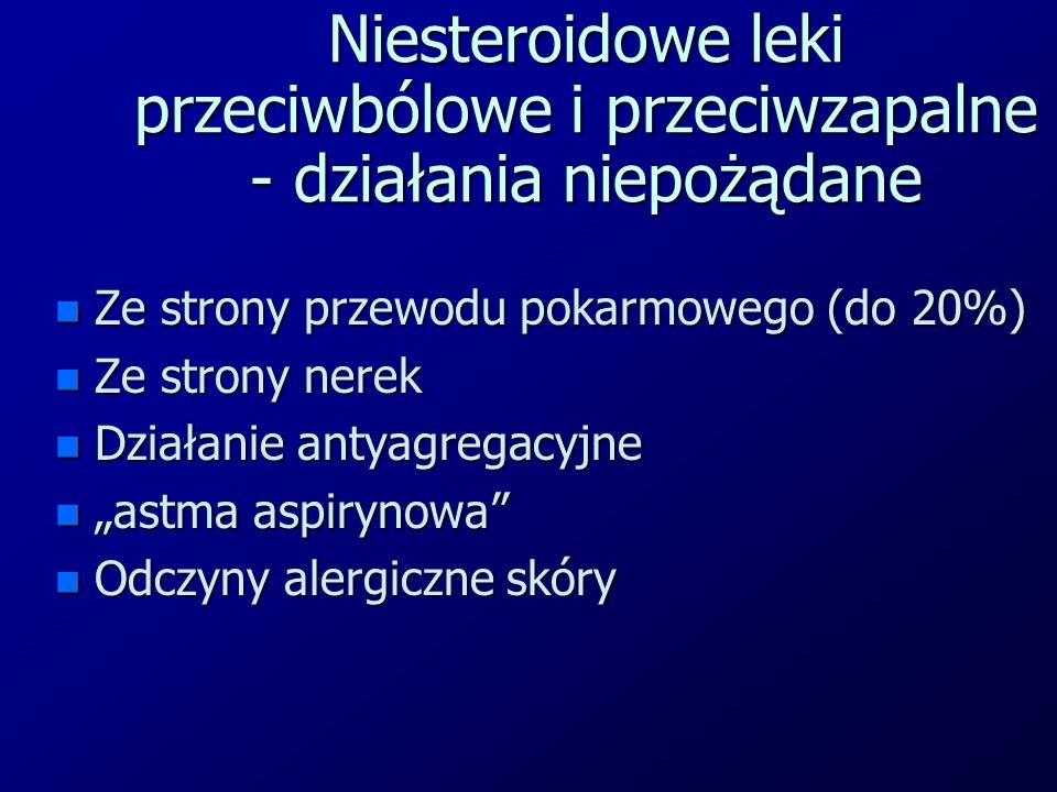Niesteroidowe leki przeciwbólowe i przeciwzapalne - działania niepożądane n Ze strony przewodu pokarmowego (do 20%) n Ze strony nerek n Działanie anty