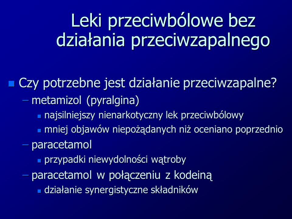Leki przeciwbólowe bez działania przeciwzapalnego n Czy potrzebne jest działanie przeciwzapalne? –metamizol (pyralgina) n najsilniejszy nienarkotyczny
