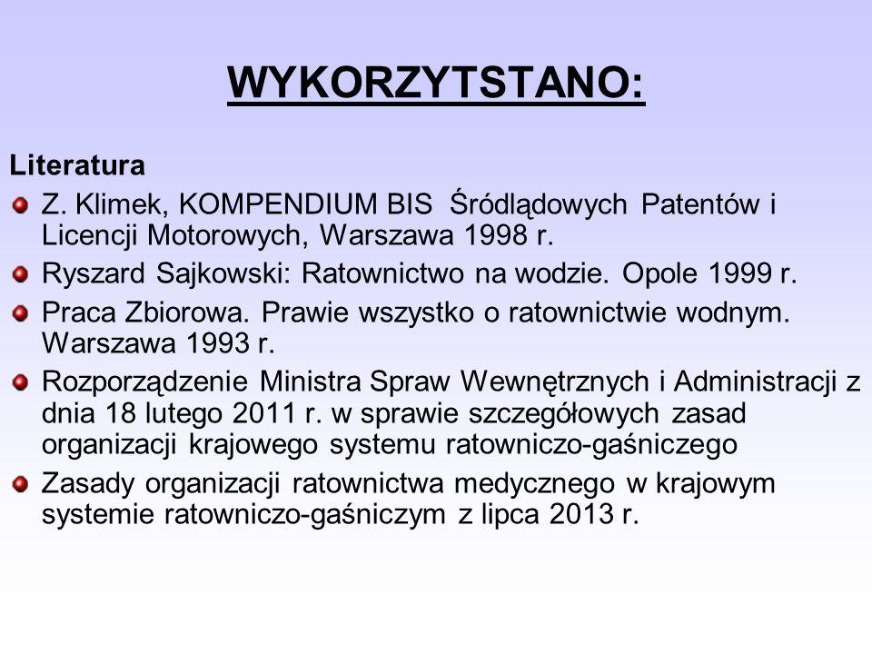 WYKORZYTSTANO: Literatura Z. Klimek, KOMPENDIUM BIS Śródlądowych Patentów i Licencji Motorowych, Warszawa 1998 r. Ryszard Sajkowski: Ratownictwo na wo