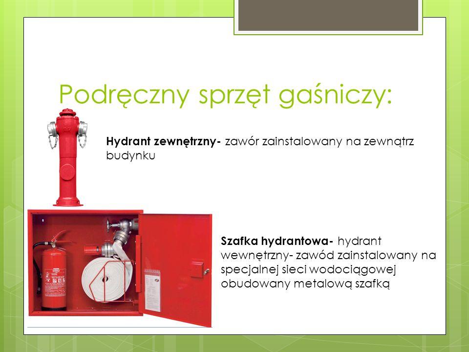 Podręczny sprzęt gaśniczy: Hydrant zewnętrzny- zawór zainstalowany na zewnątrz budynku Szafka hydrantowa- hydrant wewnętrzny- zawód zainstalowany na specjalnej sieci wodociągowej obudowany metalową szafką