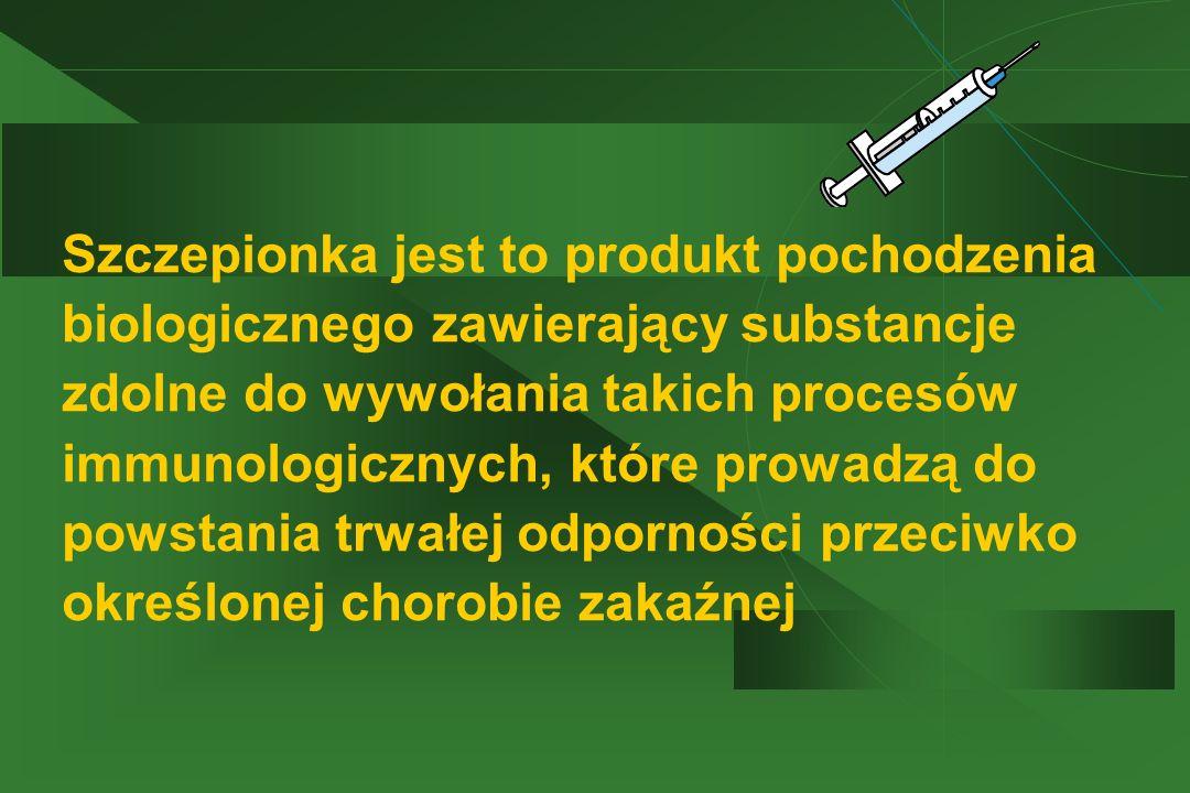 Szczepionka jest to produkt pochodzenia biologicznego zawierający substancje zdolne do wywołania takich procesów immunologicznych, które prowadzą do p