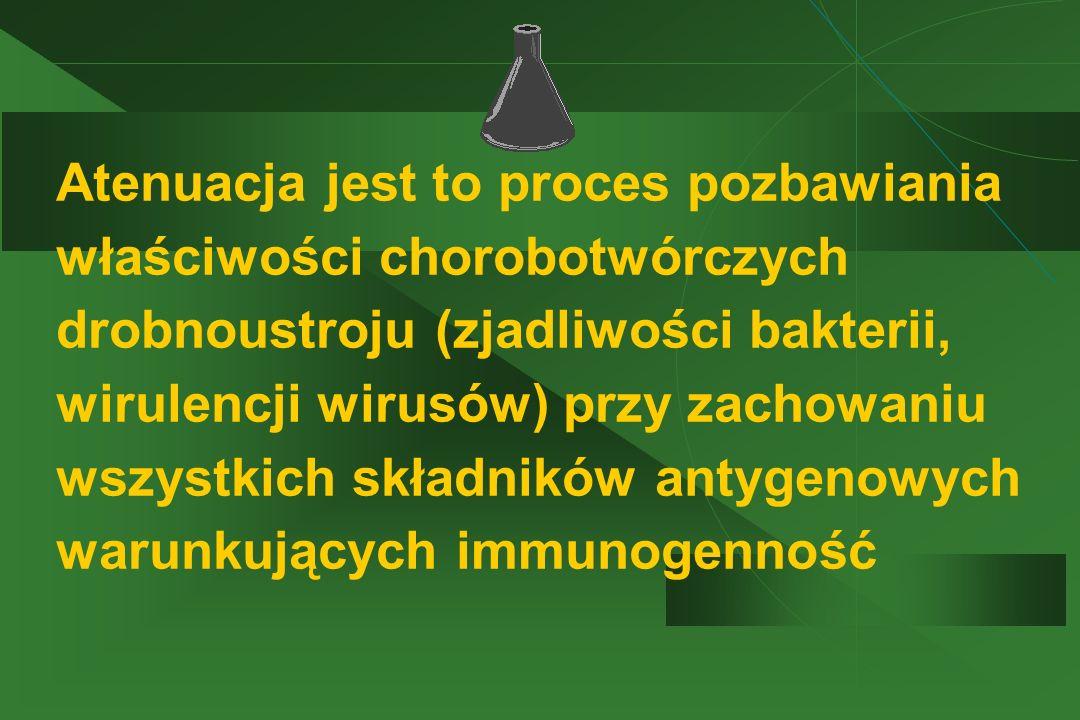 Atenuacja jest to proces pozbawiania właściwości chorobotwórczych drobnoustroju (zjadliwości bakterii, wirulencji wirusów) przy zachowaniu wszystkich