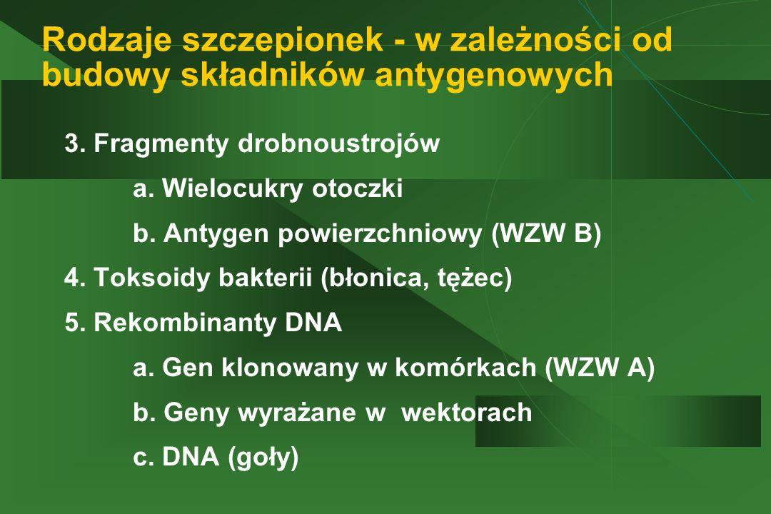 Rodzaje szczepionek - w zależności od budowy składników antygenowych 3. Fragmenty drobnoustrojów a. Wielocukry otoczki b. Antygen powierzchniowy (WZW