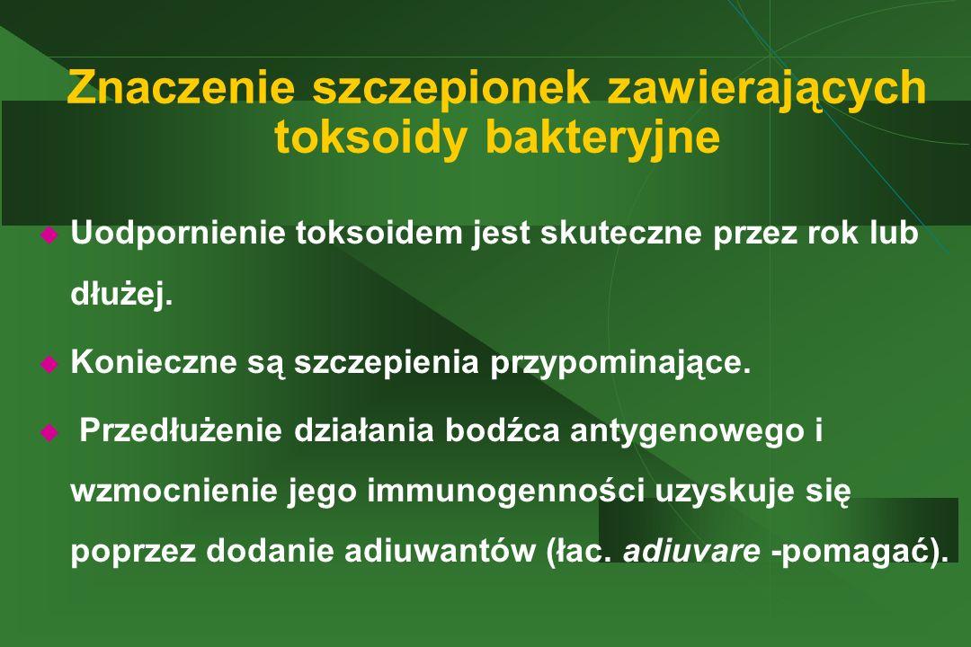 Znaczenie szczepionek zawierających toksoidy bakteryjne  Uodpornienie toksoidem jest skuteczne przez rok lub dłużej.  Konieczne są szczepienia przyp