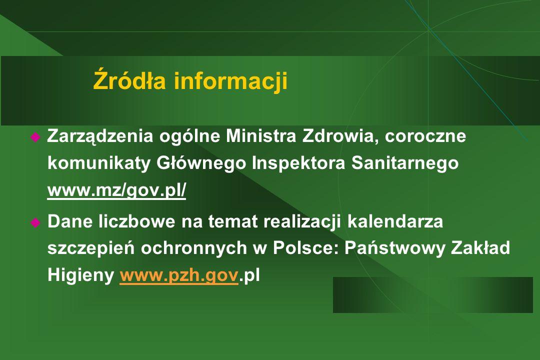 Źródła informacji  Zarządzenia ogólne Ministra Zdrowia, coroczne komunikaty Głównego Inspektora Sanitarnego www.mz/gov.pl/  Dane liczbowe na temat r