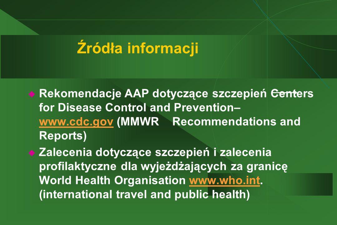 Źródła informacji  Rekomendacje AAP dotyczące szczepień Centers for Disease Control and Prevention– www.cdc.gov (MMWR Recommendations and Reports) ww