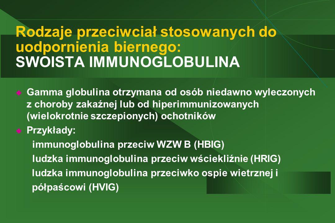 Rodzaje przeciwciał stosowanych do uodpornienia biernego: SWOISTA IMMUNOGLOBULINA  Gamma globulina otrzymana od osób niedawno wyleczonych z choroby z