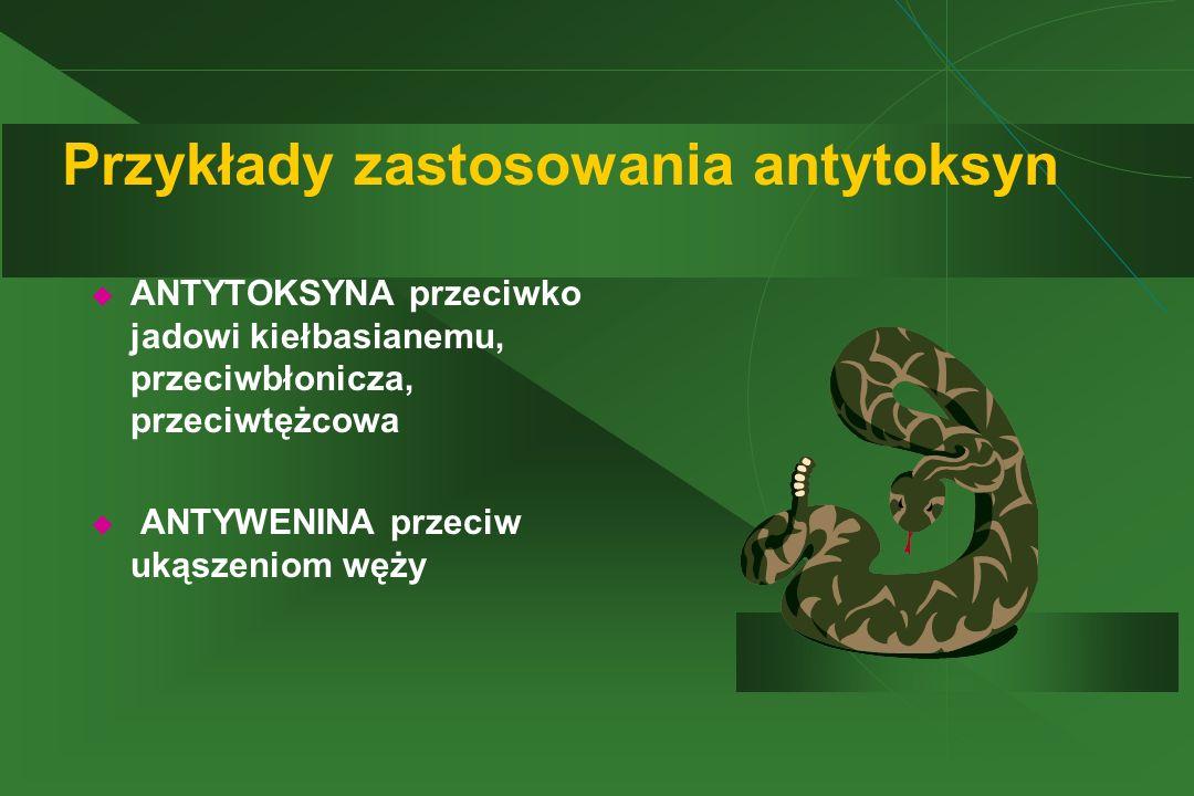 Przykłady zastosowania antytoksyn  ANTYTOKSYNA przeciwko jadowi kiełbasianemu, przeciwbłonicza, przeciwtężcowa  ANTYWENINA przeciw ukąszeniom węży