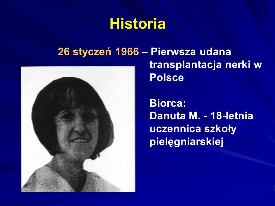 Historia 26 styczeń 1966 – Pierwsza udana transplantacja nerki w Polsce Biorca: Danuta M. - 18-letnia uczennica szkoły pielęgniarskiej