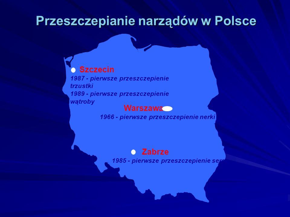 Szczecin 1987 - pierwsze przeszczepienie trzustki 1989 - pierwsze przeszczepienie wątroby Zabrze 1985 - pierwsze przeszczepienie serca Warszawa 1966 -