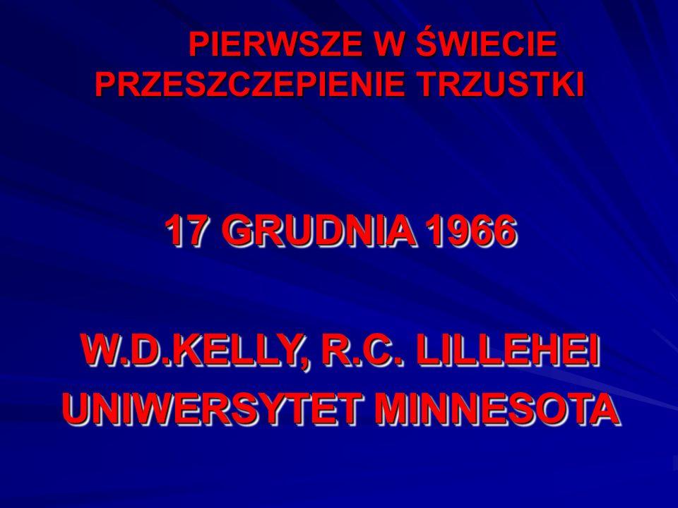PIERWSZE W ŚWIECIE PRZESZCZEPIENIE TRZUSTKI 17 GRUDNIA 1966 W.D.KELLY, R.C. LILLEHEI UNIWERSYTET MINNESOTA 17 GRUDNIA 1966 W.D.KELLY, R.C. LILLEHEI UN