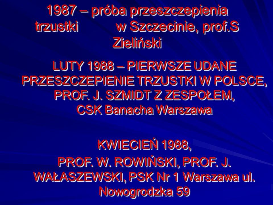 1987 – próba przeszczepienia trzustki w Szczecinie, prof.S Zieliński LUTY 1988 – PIERWSZE UDANE PRZESZCZEPIENIE TRZUSTKI W POLSCE, PROF. J. SZMIDT Z Z