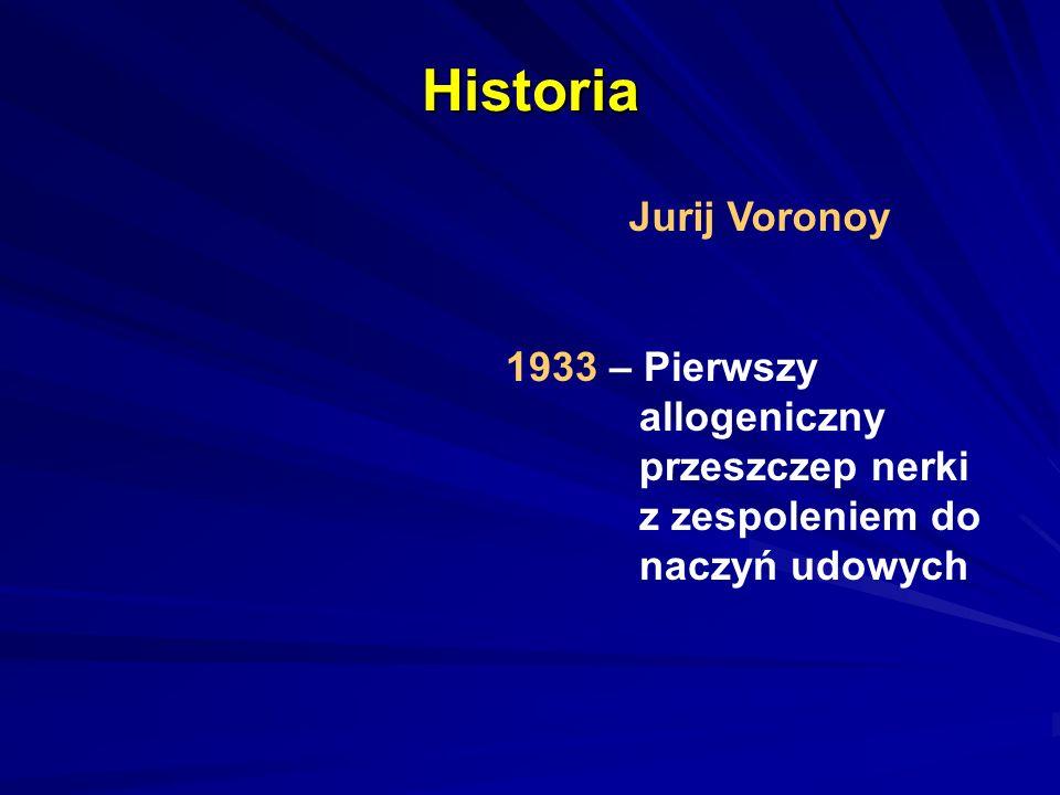 Historia Joseph Murray 1953 - Pierwsze udane przeszczepienie nerki między dwoma jednojajowymi bliźniętami Peter Bend Brigham Hospital, Boston 1991 - Nagroda Nobla (wraz z J.
