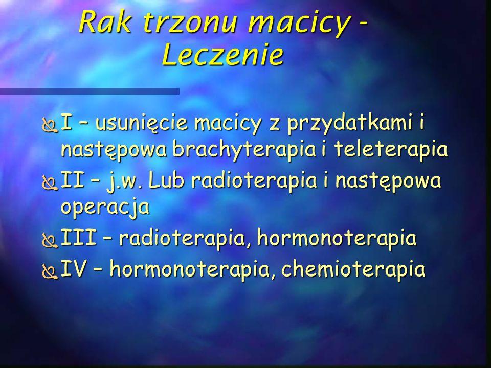Rak trzonu macicy - Leczenie  I – usunięcie macicy z przydatkami i następowa brachyterapia i teleterapia  II – j.w. Lub radioterapia i następowa ope