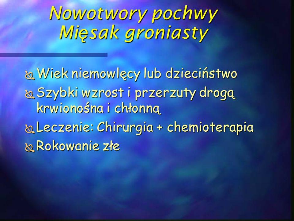 Nowotwory pochwy Mi ę sak groniasty  Wiek niemowlęcy lub dzieciństwo  Szybki wzrost i przerzuty drogą krwionośna i chłonną  Leczenie: Chirurgia + c