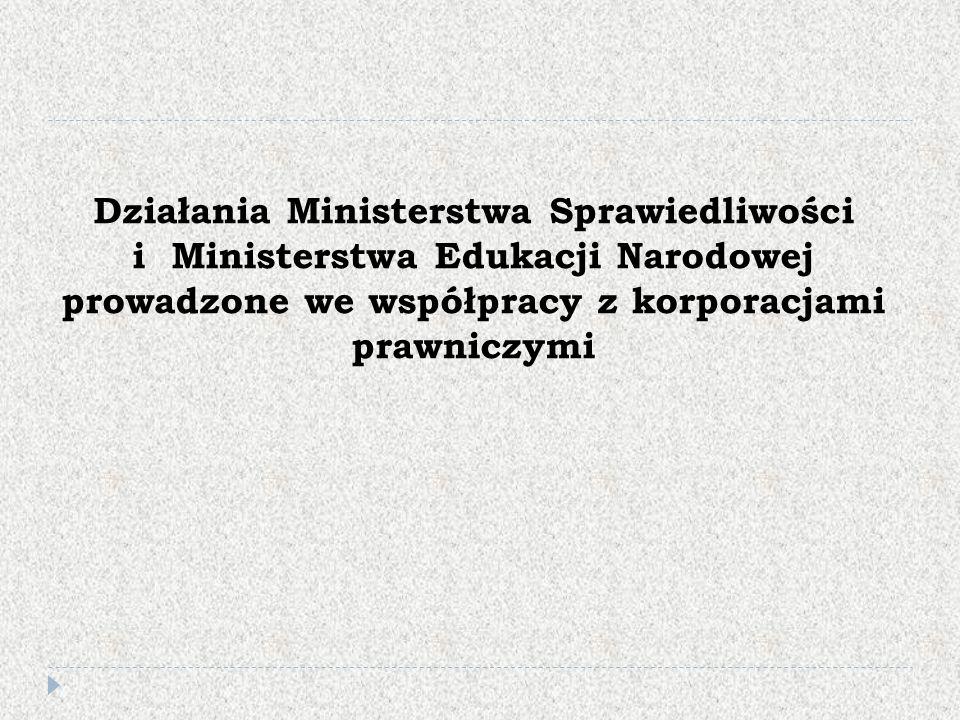 Działania Ministerstwa Sprawiedliwości i Ministerstwa Edukacji Narodowej prowadzone we współpracy z korporacjami prawniczymi
