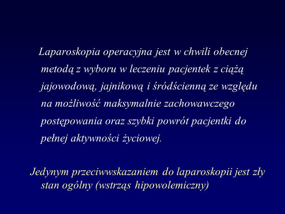 Laparoskopia operacyjna jest w chwili obecnej metodą z wyboru w leczeniu pacjentek z ciążą jajowodową, jajnikową i śródścienną ze względu na możliwość