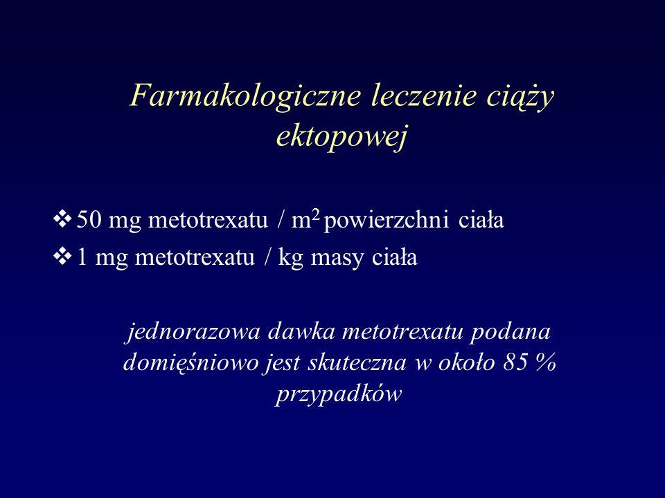 Farmakologiczne leczenie ciąży ektopowej v50 mg metotrexatu / m 2 powierzchni ciała v1 mg metotrexatu / kg masy ciała jednorazowa dawka metotrexatu po