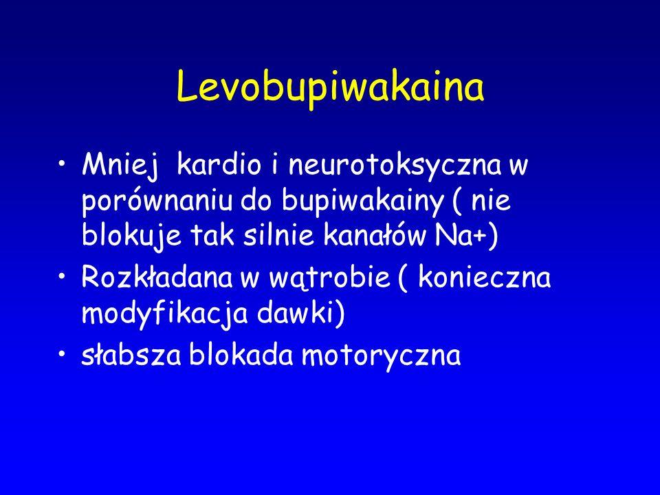 Levobupiwakaina Mniej kardio i neurotoksyczna w porównaniu do bupiwakainy ( nie blokuje tak silnie kanałów Na+) Rozkładana w wątrobie ( konieczna mody