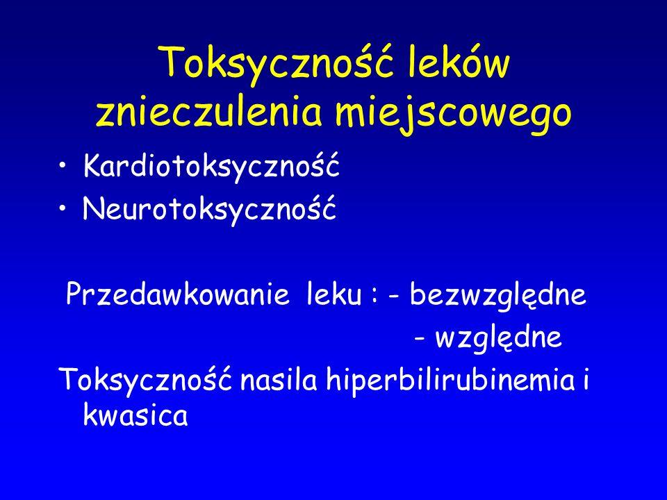 Toksyczność leków znieczulenia miejscowego Kardiotoksyczność Neurotoksyczność Przedawkowanie leku : - bezwzględne - względne Toksyczność nasila hiperb