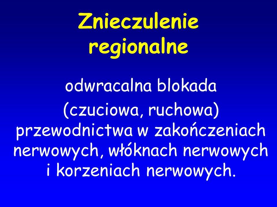 Znieczulenie regionalne odwracalna blokada (czuciowa, ruchowa) przewodnictwa w zakończeniach nerwowych, włóknach nerwowych i korzeniach nerwowych.