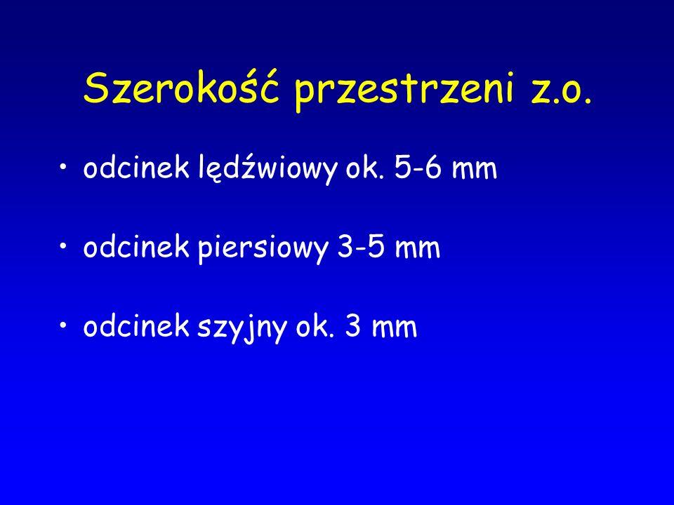 Szerokość przestrzeni z.o. odcinek lędźwiowy ok. 5-6 mm odcinek piersiowy 3-5 mm odcinek szyjny ok. 3 mm