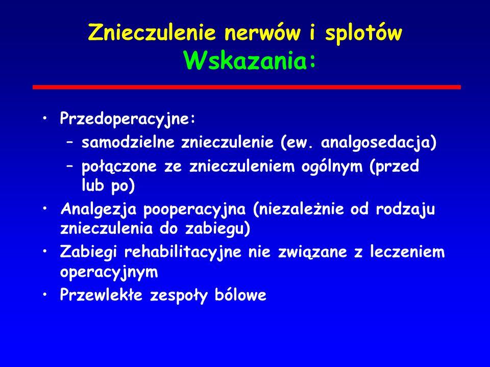 Znieczulenie nerwów i splotów Wskazania: Przedoperacyjne: –samodzielne znieczulenie (ew. analgosedacja) –połączone ze znieczuleniem ogólnym (przed lub