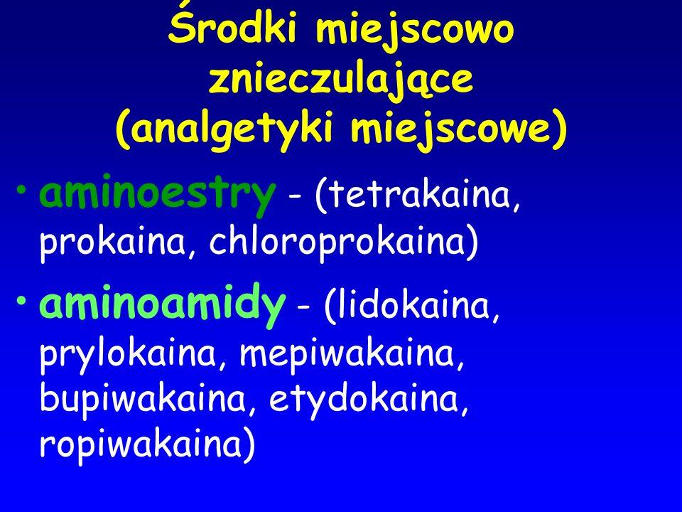 Środki miejscowo znieczulające (analgetyki miejscowe) aminoestry - (tetrakaina, prokaina, chloroprokaina) aminoamidy - (lidokaina, prylokaina, mepiwak