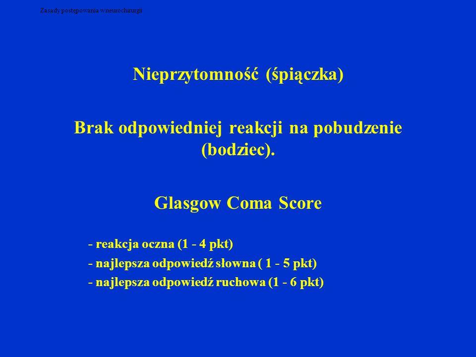 Zasady postępowania w neurochirurgii Nieprzytomność (śpiączka) Brak odpowiedniej reakcji na pobudzenie (bodziec). Glasgow Coma Score - reakcja oczna (