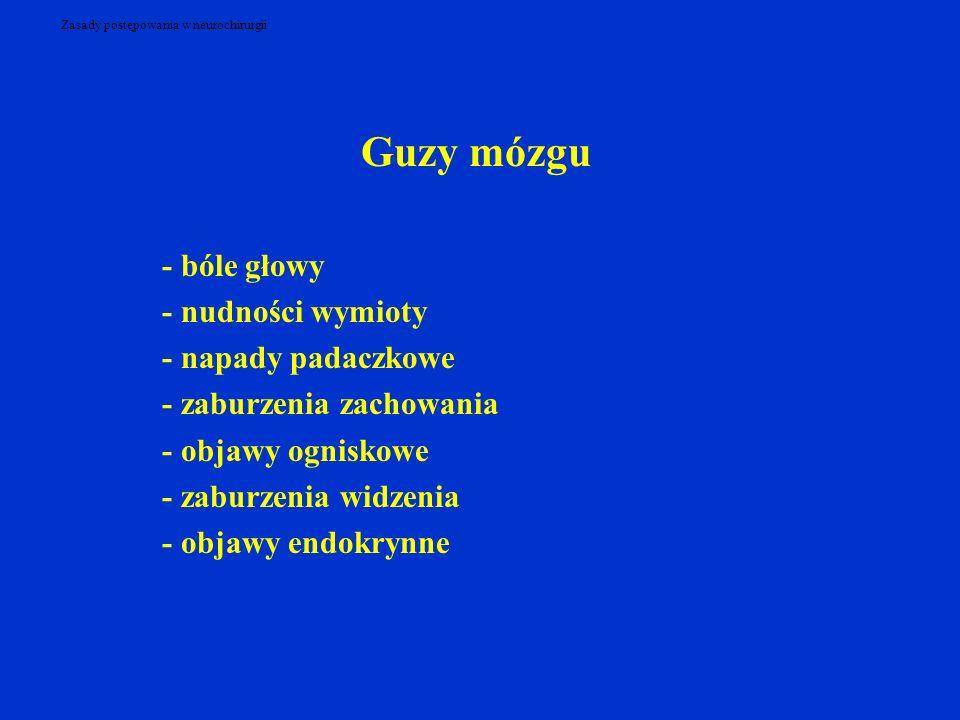 Zasady postępowania w neurochirurgii Guzy mózgu - bóle głowy - nudności wymioty - napady padaczkowe - zaburzenia zachowania - objawy ogniskowe - zaburzenia widzenia - objawy endokrynne
