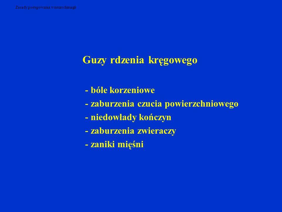 Zasady postępowania w neurochirurgii Guzy rdzenia kręgowego - bóle korzeniowe - zaburzenia czucia powierzchniowego - niedowłady kończyn - zaburzenia zwieraczy - zaniki mięśni