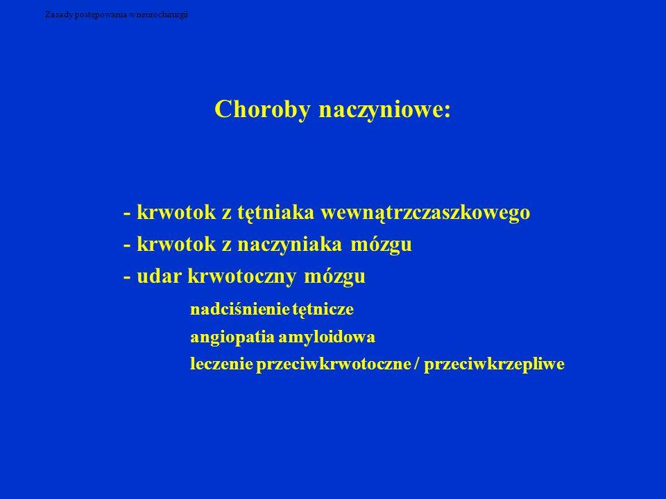 Zasady postępowania w neurochirurgii Choroby naczyniowe: - krwotok z tętniaka wewnątrzczaszkowego - krwotok z naczyniaka mózgu - udar krwotoczny mózgu