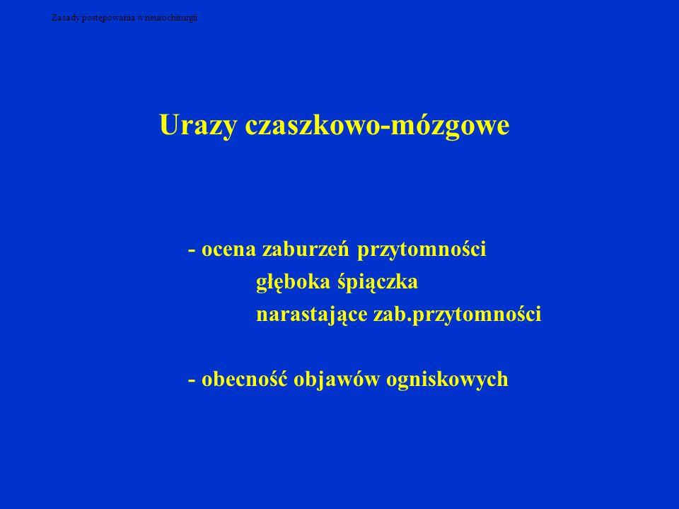 Zasady postępowania w neurochirurgii Urazy czaszkowo-mózgowe - ocena zaburzeń przytomności głęboka śpiączka narastające zab.przytomności - obecność objawów ogniskowych